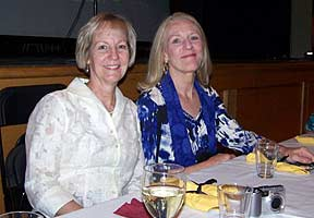 Anne Clements and Gwen Biswas at 2010 reunion dinner.