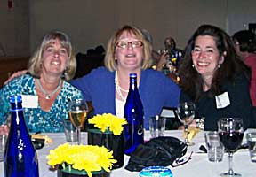 Karen Pulini, Nina Cullen, and Mimmi Lowry at 2010 reunion dinner.