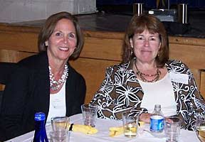 Becky Walsh and Laura Rasmussen at 2010 reunion dinner.